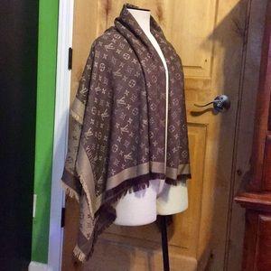 LOUIS VUITTON Brown Cashmere Wool SHAWL WRAP NWT